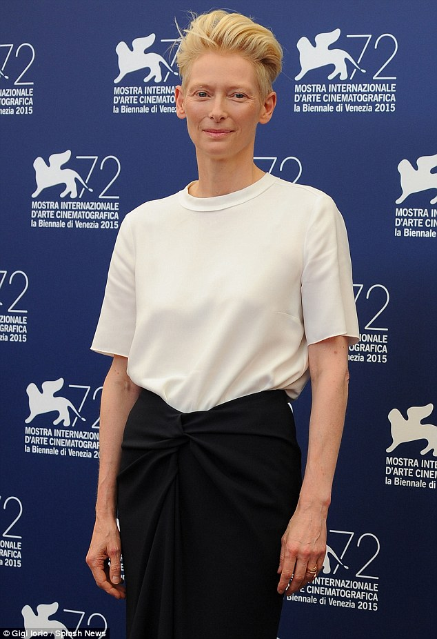 Ethereal: With her trademark quiff pushed back and her usual minimal make-up, the actress looked stunning in a simplistic white T-shirt with a ruched navy skirt
