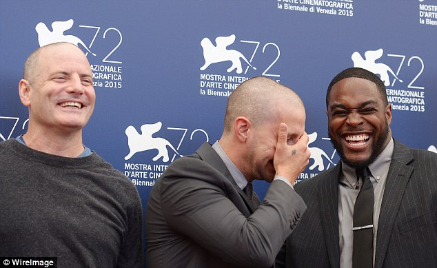 Breaking the ice: The actor appeared to be in stitches beside his co-star Nick Jones Jr. and their director