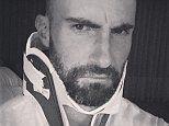 adamlevineHey guys. sorry we had to reschedule... I posted this photo of sad neck brace Adam purely for your sympathy. See you Thursday! #Maroon5 #Vtour2015