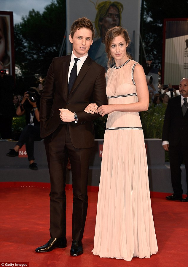 Cute couple: On Saturday night Eddie walked the red carpet in Venice with his wife Hannah Bagshawe