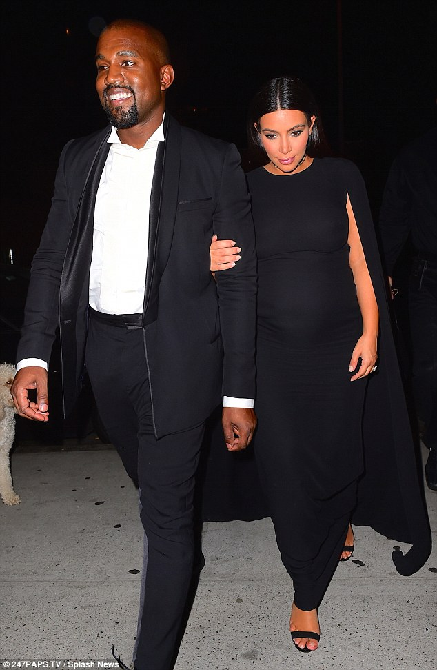 Yeezy cheesy! Kim Kardashian and Kanye West attended the star-studded wedding of music executive Steve Stoute in New York City on Sunday night, both donning dark ensembles for the romantic outing