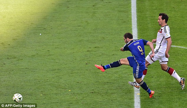 Skewed: Higuain mis-hits his shot from the edge of the area when through on goal