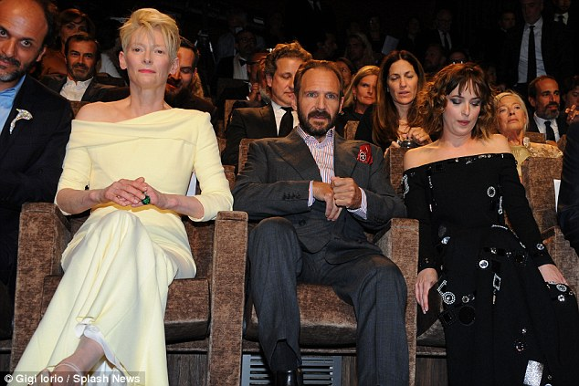Time to enjoy the film: The co-stars sat together as they prepared to watch A Bigger Splash