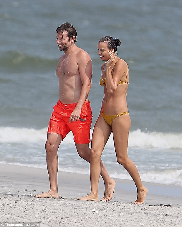 They're not cooling off! Bradley Cooper and Irina Shayk hit a beach in New Jersey on Saturday