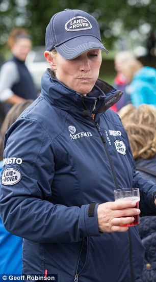 Casual dining: Zara Phillips tucked into pies, cakes and wine at the event before deciding on a winner