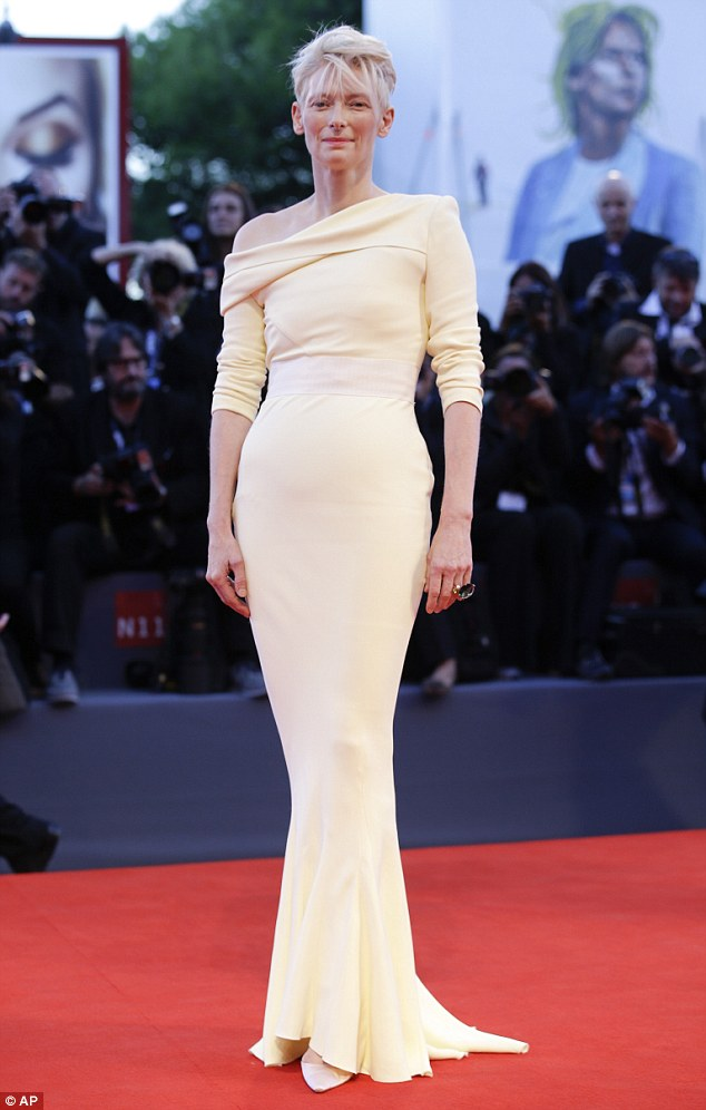 Knockout: Tilda Swinton cut a beautiful figure on the red carpet at the premiere for A Bigger Splash at the 72nd Venice Film Festival on Sunday
