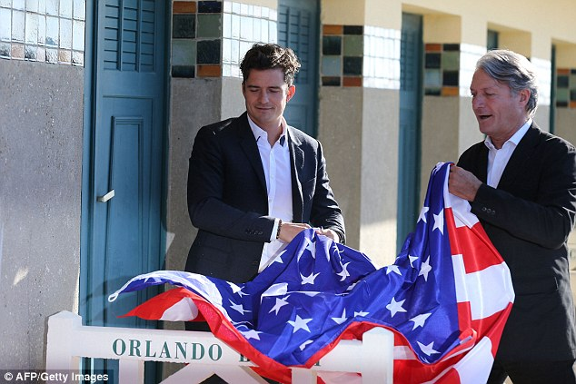 Unveiling: The British actor was given an American flag by Deauville's mayor