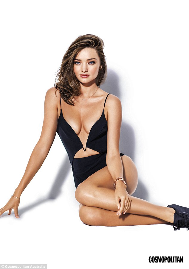 Striking: Miranda Kerr shows off her lithe figure in a series of images shot for Cosmopolitan Australia by celebrated fashion photographer Russell James - best known for his work with the likes of Heidi Klum, Alessandra Ambrosio and Naomi Campbell