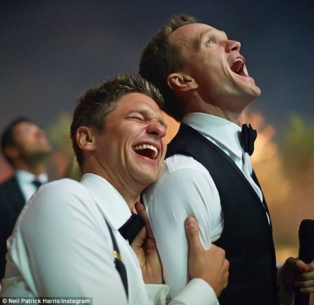 'One year ago today' Neil Patrick Harris celebrated his first wedding anniversary with a sweet Instagram post, writing: 'I had the pleasure of marrying David Burtka. I'm so happy that I did - he's a truly wonderful man. Here's to many more laughs and adventures'