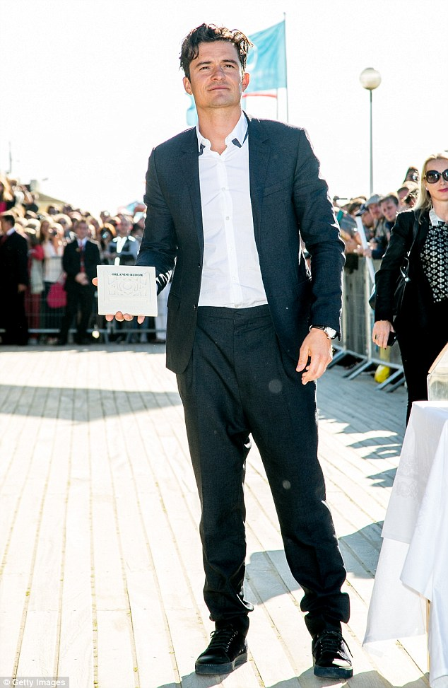 Merci: Orlando Bloom, 38, suited up for the 41st Deauville American Film Festival on Sunday