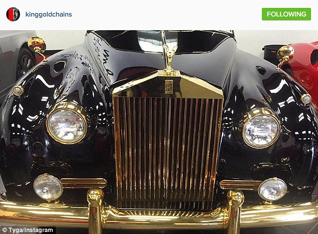 Having the last word: Tyga replied in double quick time with a picture of his pimped out Rolls-Royce, saying, 'We drive our own whips peanut head #GoldPhantoms #LastKings,'