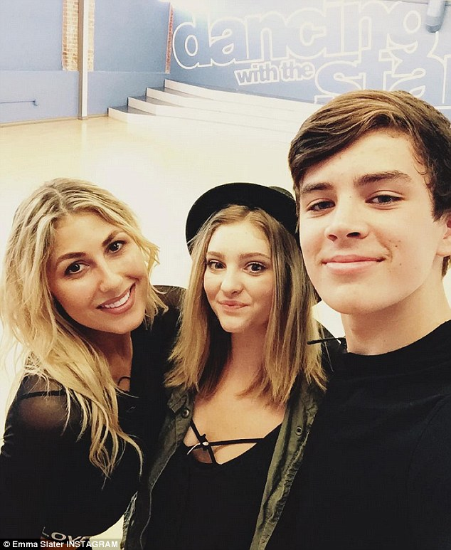 Candid snap: She captioned the Instagram shot: 'We had a visitor during rehearsals today! So good to see you @willowshields, thanks for giving @hayesgrier some solid advice @dancingabc #DWTS'