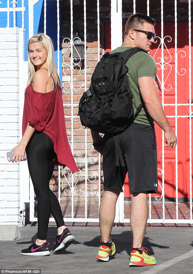 Hunk: Alek Skarlatos looked ready for action as he showed up at the studios with dance partner Lindsay Arnold