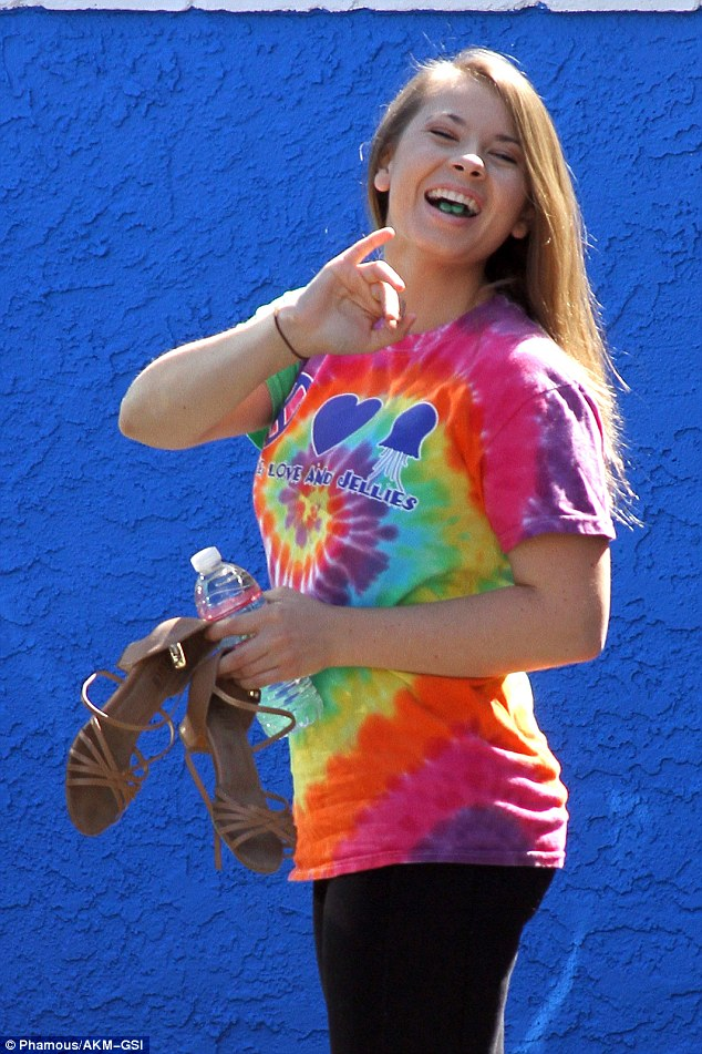 Bright star: Bindi Irwin, 17, is picking up the mantle for teens on the show - and she arrived for rehearsals looking relaxed and happy about the task in hand