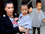 September 7, 2015: Kim Kardashian and daughter North West leave their New York City apartment and head out to get some lunch.\nMandatory Credit: T.Jackson/INFphoto.com Ref: infusny-283