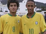 Neymar uploaded the picture above an old snap of him alongside Coutinho in Brazil colours