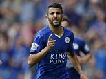 "Leicester City's Riyad Mahrez celebrates scoring his side's third goal during the Barclays Premier League match at the King Power Stadium, Leicester.  PRESS ASSOCIATION Photo. Picture date: Saturday August 8, 2015. See PA story SOCCER Leicester. Photo credit should read: Paul Harding/PA Wire. EDITORIAL USE ONLY. No use with unauthorised audio, video, data, fixture lists, club/league logos or ""live"" services. Online in-match use limited to 45 images, no video emulation. No use in betting, games or single club/league/player publications."