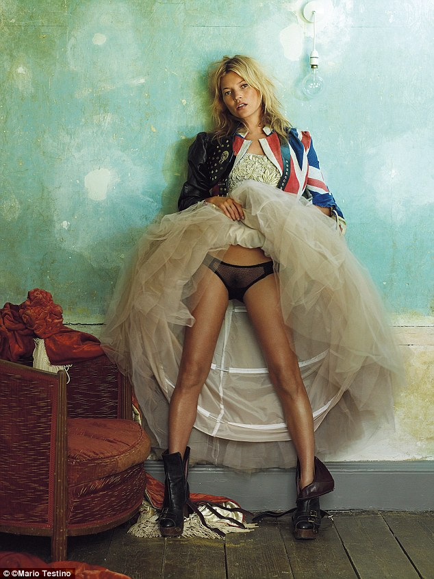 Kate Moss as shot by Mario Testino for British Vogue in 2008, the image nods to the controversy caused when the model posed in her knickers for the magazine in 1993. All images will feature in a new exhibition