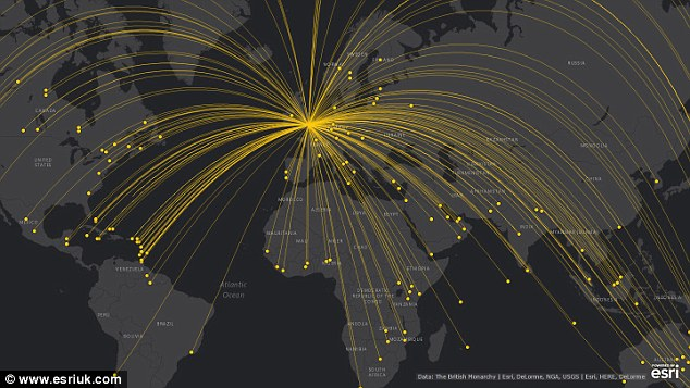 The yellow flight paths on the map show where the Queen has travelled during her 63-year reign onher official state and commonwealth visits