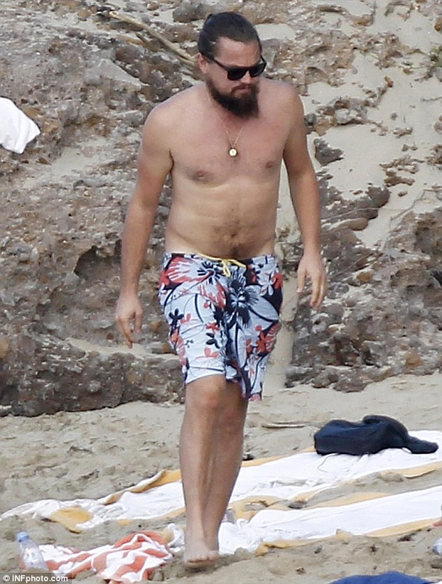 Rounder physique: Leo was seen sporting his big bushy beard on a trip to St Barths earlier this year