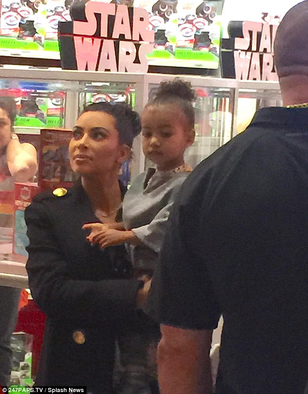 Star Wars fan? Kim treated her daughter to dozens of new toys during their visit