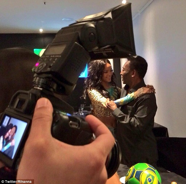 Meet and greet: Rihanna hugs Brazilian legend Pele after jetting into Brazil