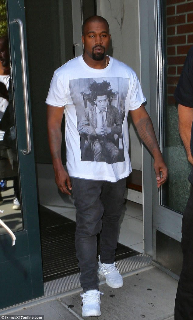 Down day: Kanye West stepped out on in New York on Monday looking casual after attending a big wedding on Sunday night