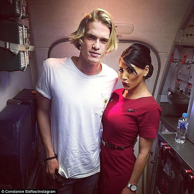 Meanwhile, the Australian-born singer caused a stir when he was seen flirting at Sydney's Marquee nightclub with an air hostess known as Constance Siaflas (pictured)