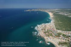 aerial view looking toward land's end cabo san lucas, mexico in September 2012 after rain.