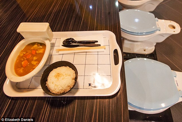 Dinner is served: The eatery presents Taiwanese fare in toilet and urinal-shaped bowls