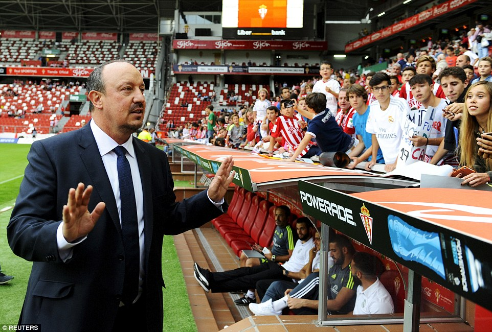Madrid manager Rafa Benitez, pictured gesturing before kick-off atEl Molinon stadium, was taking charge of his first league match