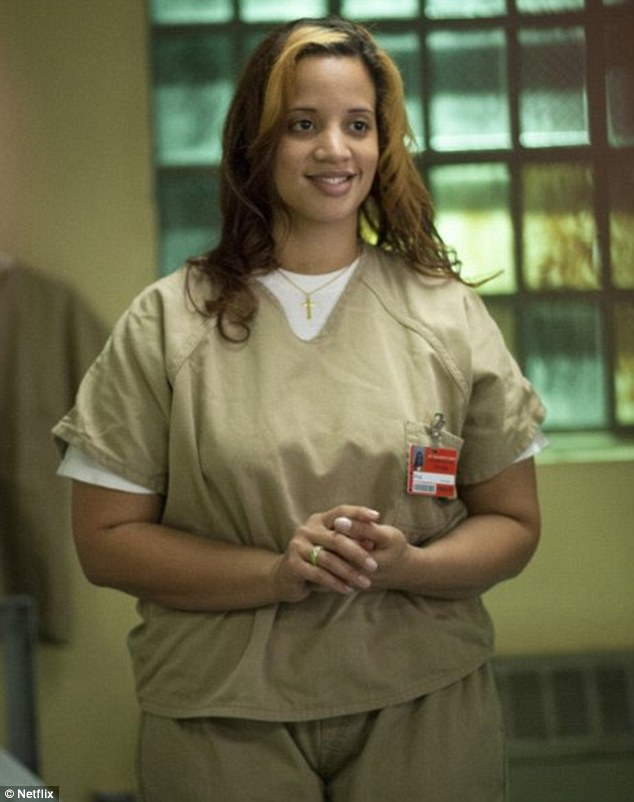 In character:Dascha, as Daya, in Netflix original series ORITNB, which is based on author Piper Kerman's memoir about her own experiences in prison