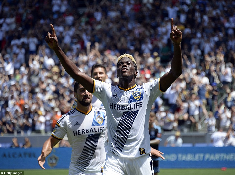 LA Galaxy forward Gyasi Zardes celebrates after opening the scoring for the Western Conference leaders in the first half