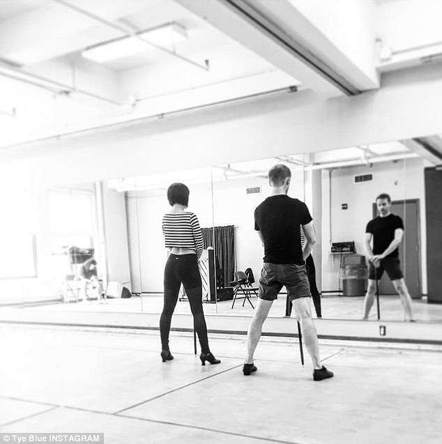 Getting back in the swing: Her injury forced Rumer, 27, to postpone her Broadway debut as Roxie Hart. Her friend Tye Blue posted this photo of the pair rehearsing routines Monday and praised her perseverance
