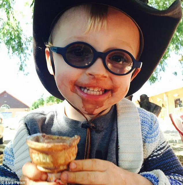 Time for something sweet: Anna Faris shared this adorable photo of her and Chris Pratt's son Jack on Sunday, joking:'Shoot-I was hoping it wasn't true-but turns out Jack hates ice cream @prattprattpratt'