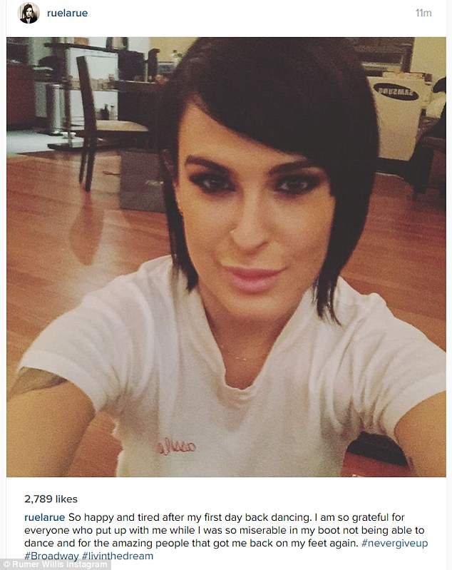 Glad to be back: Rumer Willis shared her delight at being able to dance again in this Instagram selfie she posted on Monday. She's set to make her debut on Broadway in the musical Chicago in a week