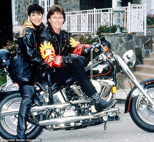Born to ride: The social media love comes just hours after Kendall paid tribute to both mom Kris Jenner and Caitlyn, prior to her transition from Bruce, in a 1993 picture