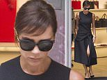 MUST BYLINE: EROTEME.CO.UK Victoria Beckham wears one of her own designer dresses from her Autumn/Winter 2015 collection while enjoying some retail therapy. EXCLUSIVE    September 6,  2015 Job: 150906L1  London, England EROTEME.CO.UK 44 207 431 1598 Ref:  341629