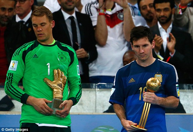 Scant consolation: The Argentinian was awarded the Golden Ball trophy for player of the tournament