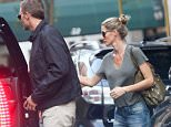 ***PREMIUM RATES APPLY*** EXCLUSIVE TO INF. August 31, 2015: Tom Brady and Gisele Bundchen are pictured leaving an office building in New York City this evening. Brady made an appearance in federal court earlier today regarding the ongoing deflategate scandal, while wife Gisele is rumored to have undergone recent plastic surgery. Mandatory Credit:  Ordonez/Jackson/INFphoto.com Ref: infusny-160/284