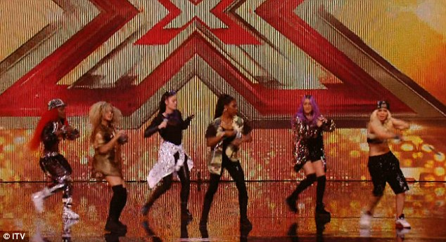 Work it: Flaunting their diverse styles in an assortment of glittery baggy pants, studded caps and skin tight leggings, the girl band stunned with their talented performance