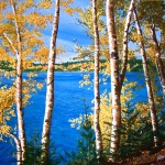 "36""x 30"" ""Thru the Birches"" ~ Acrylic on canvas. by Roxanne Driedger"