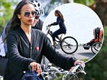 UK CLIENTS MUST CREDIT: AKM-GSI ONLY\nEXCLUSIVE: Vancouver, BC - Zoe Saldana, husband Marco and the twins Bowie Ezio and Cy Aridio, bike around Vancouver's famous Stanley Park Seawall on a beautiful day.\n\nPictured: Zoe Saldana\nRef: SPL1118440  050915   EXCLUSIVE\nPicture by: AKM-GSI / Splash News\n\n