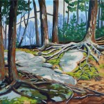 Hornbeam Lake, great canoeing country, oil on canvas, love those water falls and I swear I heard a bear nearby. — at Algonquin Provincial Park. by Roxanne	Driedger