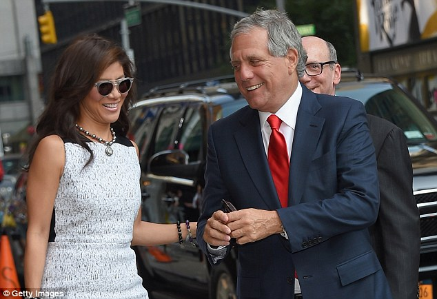 The comedian is known for his Comedy Central character, though he will show the world his real personality on Tuesday night. Above, CBS chairman Les Moonves arrives  with wife and CBS personality Julie Chen