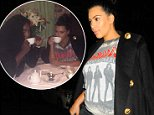 09/07/15 NYC - Pregnant, Kim Kardashian in a Ramones t-shirt and ripped black jeans arrives at Carbone restaurant to meet with Serena Wiliams in the West Village for a late dinner on Monday September 7th, 2015.\n\nPictured: Kim Kardashian\nRef: SPL1119155  070915  \nPicture by: Luis Yllanes / Splash News\n\nSplash News and Pictures\nLos Angeles: 310-821-2666\nNew York: 212-619-2666\nLondon: 870-934-2666\nphotodesk@splashnews.com\n