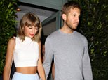 """UK CLIENTS MUST CREDIT: AKM-GSI ONLY..Santa Monica, CA - Taylor Swift and boyfriend Calvin Harris hold hands after a romantic dinner date at Giorgio Baldi Italian restaurant in Santa Monica. The 25-year-old singer showed off her slender figure in a white crop top and baby blue mini skirt. Taylor used Twitter to shoot down reports that she was buying a 16th century castle in Scotland. She tweeted, 'Cause baby I could build a castle out of all the bricks they threw at me¿But I'm not actually buying a castle."""".....Pictured: Taylor Swift, Calvin Harris..Ref: SPL1100612  110815  ..Picture by: AKM-GSI / Splash News...."""