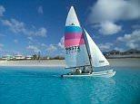 A general view of Bahamas San Salvador Island sailing by Club Med.      AA8YEX Bahamas San Salvador Island sailing by Club Med