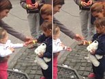 Video of girl giving the sweet is live   1212565 Touching moment German girl hands refugee child a sweet  Grabs are also attached. Credit is Vine/Cassandra Vinograd   Can you also put the link to her vine in the article please? https://vine.co/v/etO7UlenrDT  Thanks, Jodie