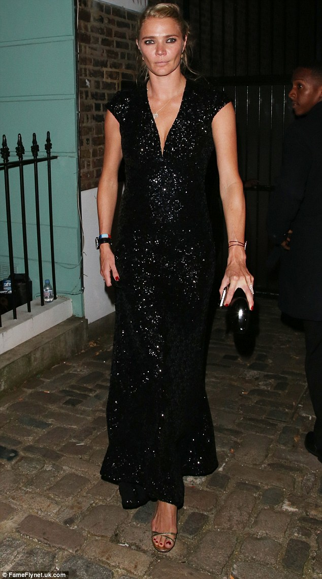 Strut: Jodie Kidd - who is rumoured to be among the new presenters on the revamped Top Gear - went all out in the glamour stakes in a long, sequinned black gown